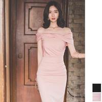 オフショルダーワンピース 韓国ドレス スリム タイト お呼ばれ ナイトシーン FS107101