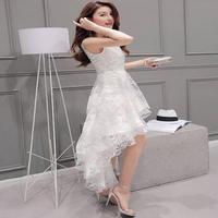 結婚式 二次会 披露宴 純白ドレス ホワイト マキシワンピ ロングドレス 花柄ノースリーブ FS022001