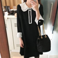 バイカラーワンピース 韓国ワンピース お嬢様スタイル プリーツスカート 可愛い FS083001