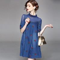 韓国ワンピ デニム生地 花柄刺繍 ワンピース FS029001