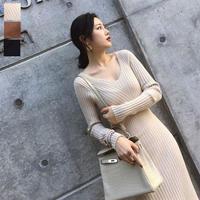 秋冬 ニットワンピース マキシワンピース 韓国ワンピース スリム曲線 美しい FS085001