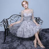 韓国ワンピース プリンセスドレス シルバーグレー 花柄 ワンピース パーティー 二次会  FS014801