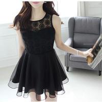 花柄レース ノースリーブワンピース ブラック 黒 カジュアル 韓国ドレス FY039701