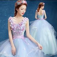 ブライダルドレス ウエディングドレス ロングドレス 花柄刺繍 結婚式 演奏会 舞台衣装 FS068401