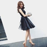 韓国ワンピース パーティードレス リボン 結婚式 二次会 黒 ブラック ノースリーブ FS035401