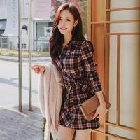シャツワンピース 韓国ワンピース チェック柄 ウエストリボン 可愛い FS105801