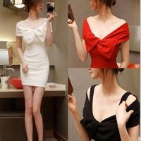 韓国ドレス 韓国ワンピ ホワイト レッド ブラック リボン オフショル オフショルダー FS009501