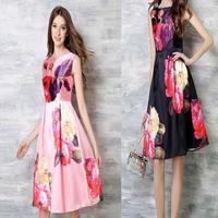 パーティードレス マキシワンピース 大きいサイズ ロング 花柄 ピンク ネイビー ノースリーブ FS008101