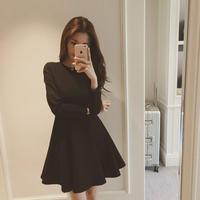 秋冬 無地 ワンピース 韓国 シンプル フレアワンピース ミニ丈 ブラック 長袖 F0048501