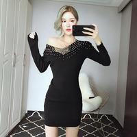 Vネックワンピース 韓国ワンピース ビジュー 可愛い ナイトシーン FS103401