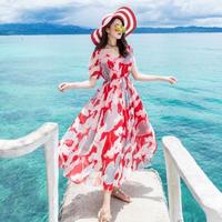 マキシワンピース 韓国ワンピース リゾート トロピカル柄 夏 海 バカンス FS070101