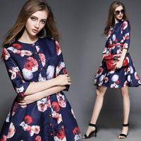 韓国ワンピ 花柄 七分袖ワンピース ネイビー フレアスカート パーティー FS013101