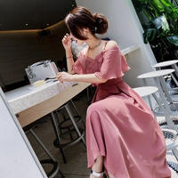 韓国 プリーツ オフショルダー ミモレ丈 ミディドレス シフォンワンピース ピンク ブラック FS031201