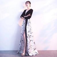 ロングドレス 韓国ワンピース Vネック スリット セクシー マキシワンピース 花柄 プリント 可愛い FS067501
