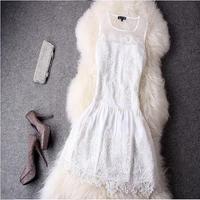 結婚式 花柄ワンピース レース 刺繍飾り ノースリーブ シースルー チュールワンピ ホワイト F0042201