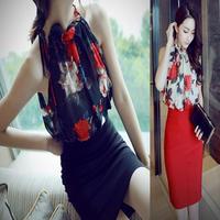 花柄シフォン タイトスカート ドレス風 セットアップ おしゃれ 韓国 黒 赤 ブラック レッド FS005601