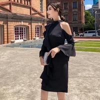 韓国ドレス 韓国ワンピース アシンメトリー オフショルダー 袖フレア 可愛い FS107301