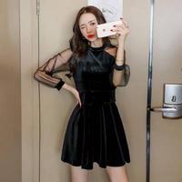 パーティードレス 韓国ワンピース シースルー セクシー 無地 ナイトシーン FS099701