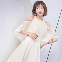 韓国ワンピース 花柄レース ケープ風デザイン ノースリーブ 純白 パーティードレス 結婚式 二次会 FS065401