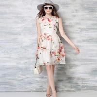 韓国ドレス 水彩画 ワンピース 花柄 ホワイト 白 ノースリーブ FS010201