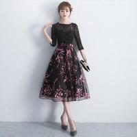 パーティードレス 韓国ワンピース 黒レース 花柄模様 可愛い お呼ばれ 舞台衣装 FS073301
