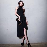 パーティードレス 韓国ワンピース ノースリーブ アシンメトリースカート セクシー キャバドレス FS074601