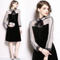 韓国ドレス 韓国ワンピース エレガント バイカラー ネックリボン 可愛い FS108401