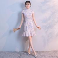 チャイナドレス マーメイドライン 花柄レース ハイネック ワンピース パーティー FS067901