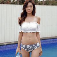 韓国水着 オフショルダー フリルビキニ 花柄 ミックスマッチ FS059901