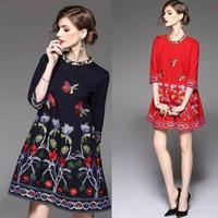 花柄刺繍 可愛い 韓国ワンピース Aライン ブラック レッド 七分袖 FS028801