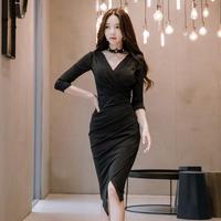 パーティードレス 韓国ワンピース カシュクールデザイン スリム ブラック お呼ばれ 食事会 FS095801