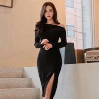 パーティードレス 韓国ワンピース オフショルダー スリット セクシー 大人女子 ナイトシーン FS096601