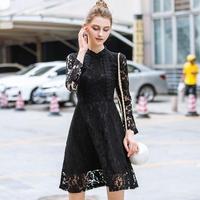 韓国ドレス 韓国ワンピース ハイネック 花柄レース シースルー袖 お呼ばれ ナイトシーン FS108301