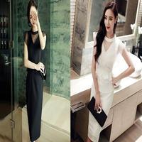 Vネック 韓国ドレス シースルー ワンピース レースドレス ワンピ 黒 ブラック 白 ホワイト FS018801