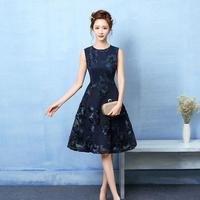 韓国 ワンピース 花柄刺繍 ノースリーブ ネイビー パーティードレス FS029801