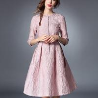 フローラル ジャガード 韓国ドレス ワンピース ピンク フレアスカート パーティースタイル FS010701