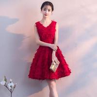 韓国ワンピース ノースリーブ フレアスカート 深紅 パーティードレス ふわふわ素材  Vネック お嬢様ワンピース FS063801