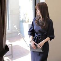 無地 リボン付き パフスリーブ ミディアムドレス ワンピース FS024301
