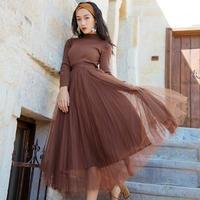 秋冬 韓国ドレス 韓国ワンピース ハイネック チュールスカート 可愛い FS108101