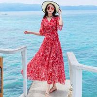 リゾートワンピース 韓国ワンピース マキシワンピース 花柄デザイン 可愛い FS069301