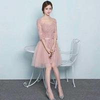 チュールレース 花柄ワンピース ピンク 七分袖 ドレスワンピ FS023901