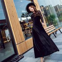 マキシワンピース お呼ばれ パーティードレス 花柄レース 刺繍 ロングドレス エレガント 黒 ブラック FS043401