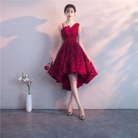 チェック柄 韓国ワンピース フィッシュテールスカート オフショルダー 深紅 パーティードレス FS067101