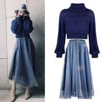 パーティードレス 韓国ワンピース 秋冬 セットアップ メッシュ ロングスカート ニット 可愛い 暖かい FS080901
