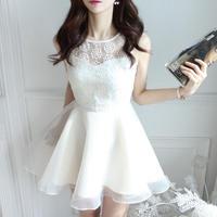清楚 花柄レース ノースリーブワンピース ホワイト 白 カジュアル 韓国ドレス FY039601