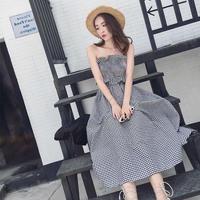 韓国ワンピース マキシワンピース ギンガムチェック ノースリーブ お嬢様スタイル 夏 FS072101