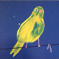 yellow birds with worm / David Shrigley