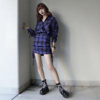 【LR1048】チェックセットアップ(ブルー)