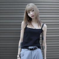 【LR0064】リブキャミソール (ブラック)