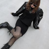 【LR0059】Tシャツワンピ (ブラック)